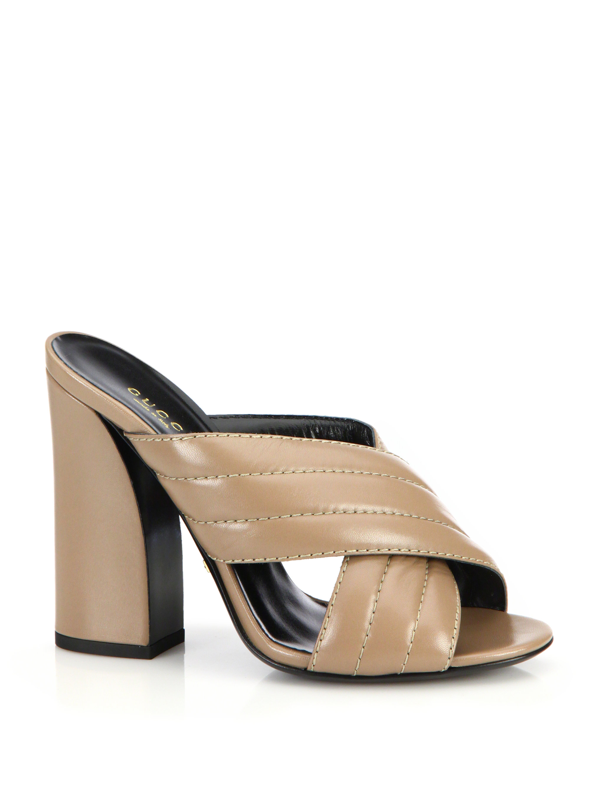 Gucci Webby Quilted Leather Mule Sandals In Natural Lyst