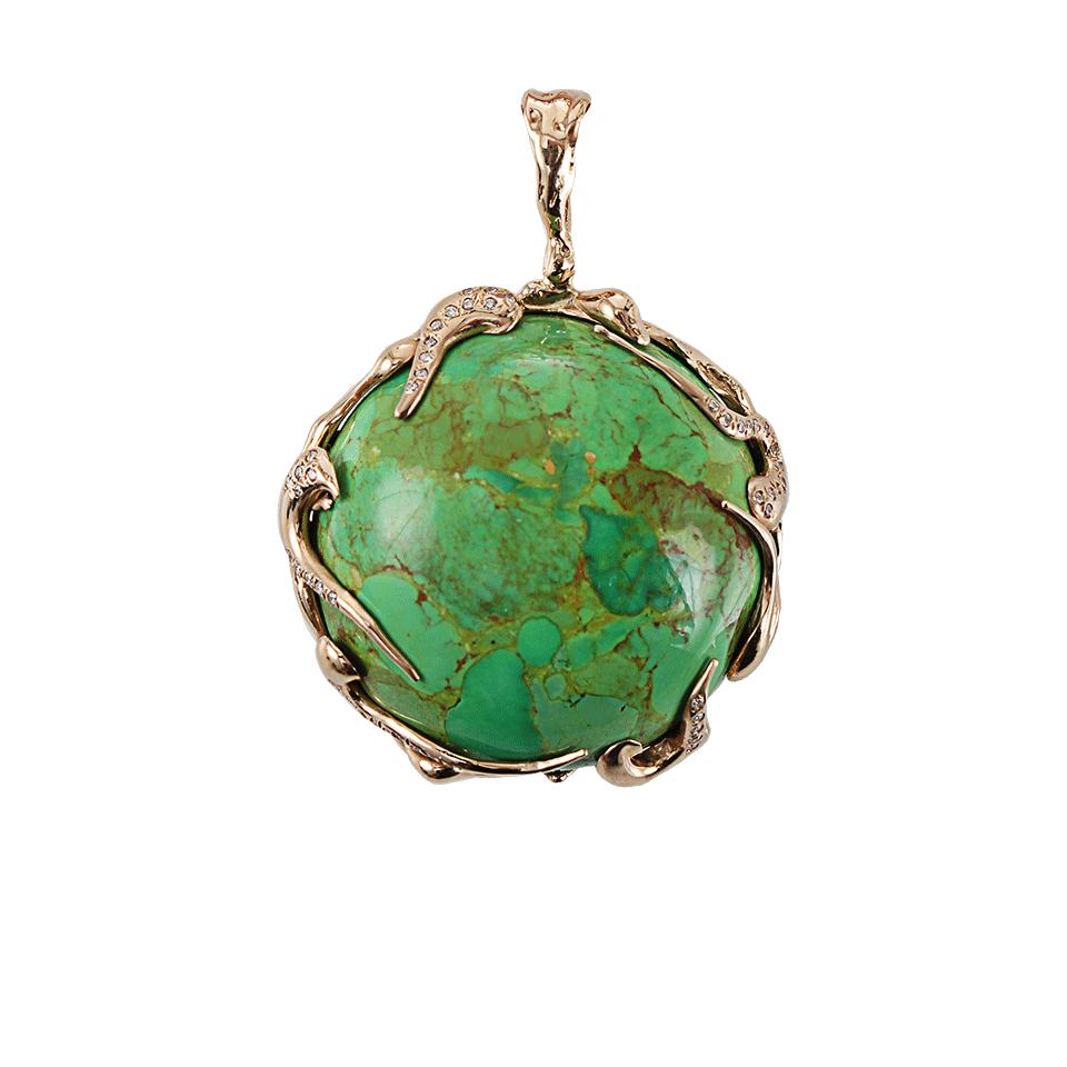 lucifer vir honestus green turquoise pendant with diamonds
