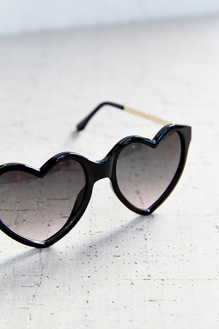 Glasses Frames Urban Outfitters : Urban outfitters Cara Heart Frame Sunglasses in Black Lyst