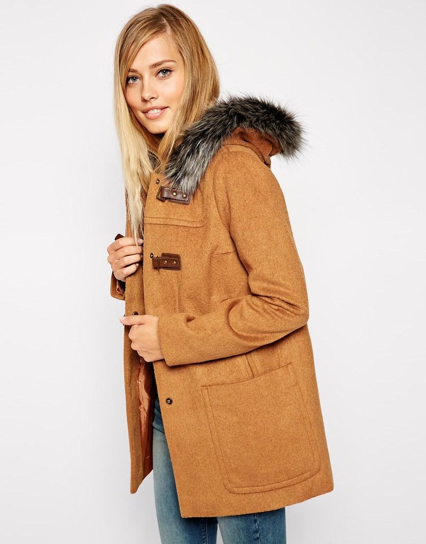 Asos Premium Duffle Coat With Faux Fur Hood in Brown | Lyst