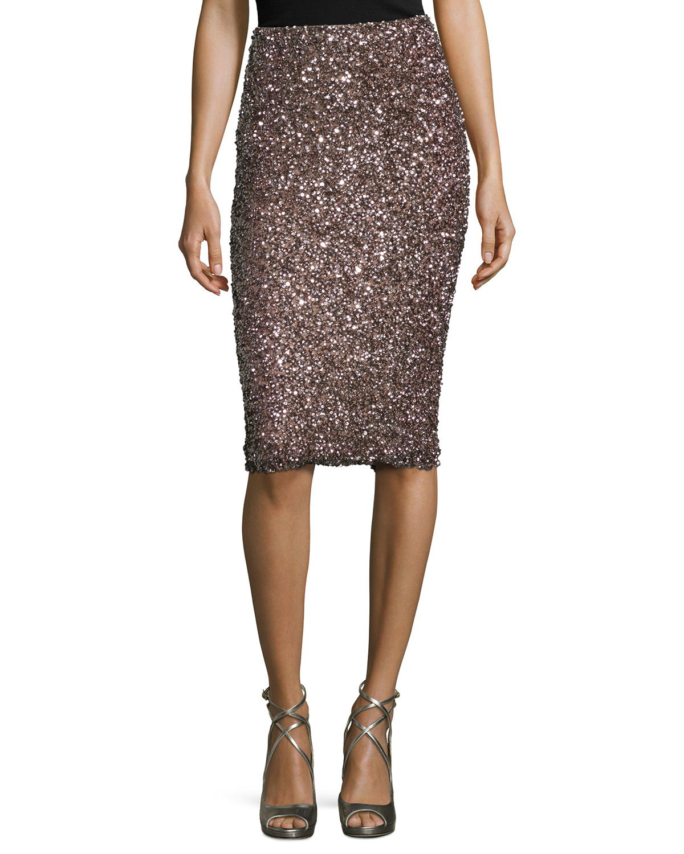 black cascade sequin pencil skirt in purple lyst