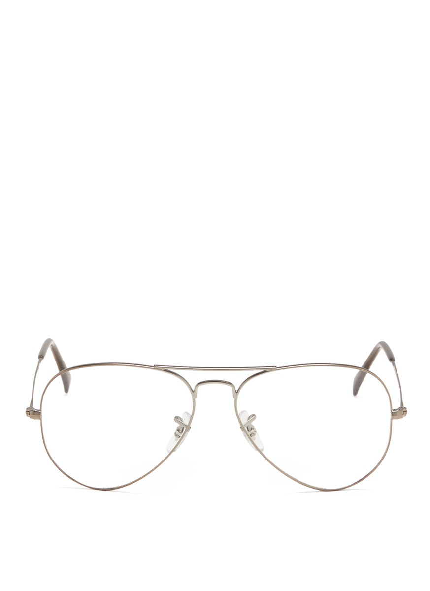 Ray Ban Wireframe Glasses : Ray-ban Wire Rim Aviator Optical Glasses in Silver ...