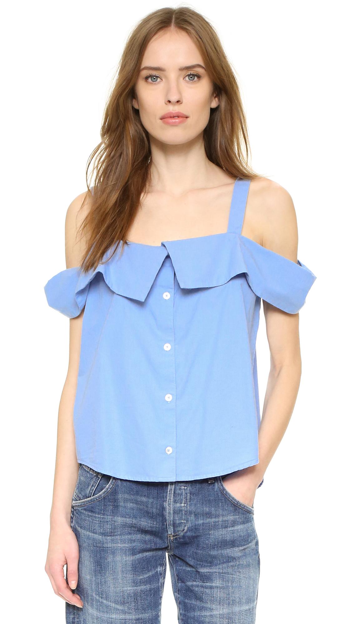 79f62e013484b Lyst - CLU Off Shoulder Button Down Top in Blue