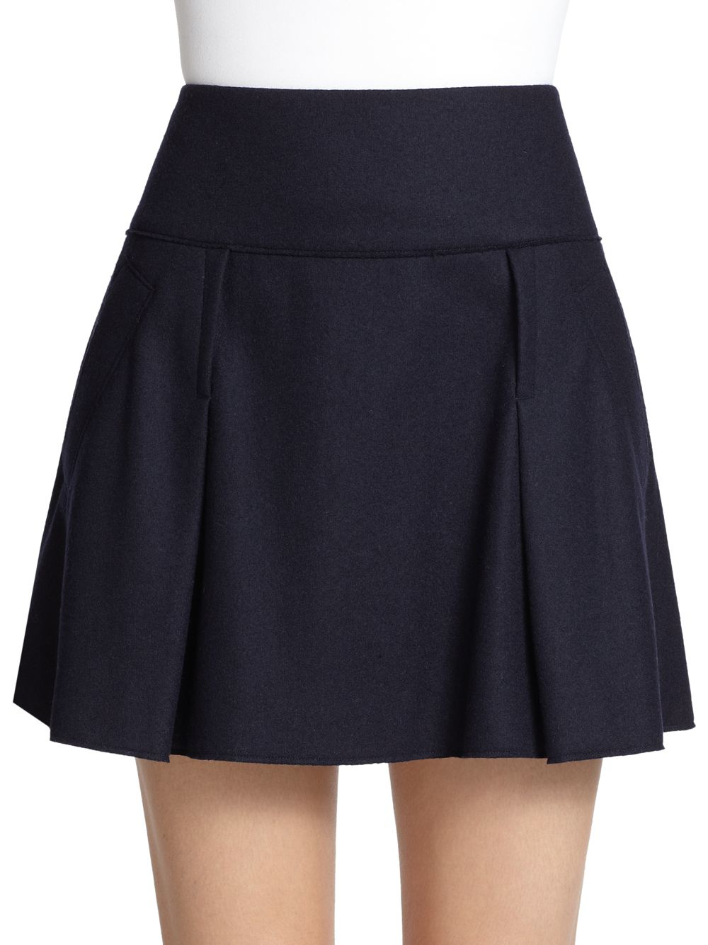 vince pleated felt skirt in blue coastal blue lyst
