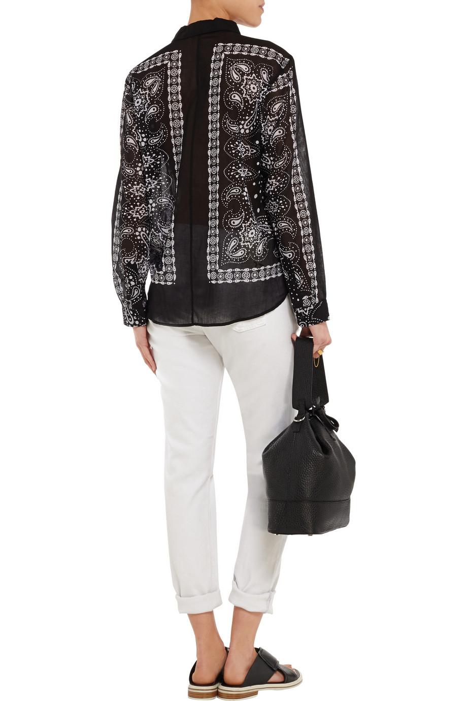 Sandro Colt Printed Cotton-voile Shirt in Black