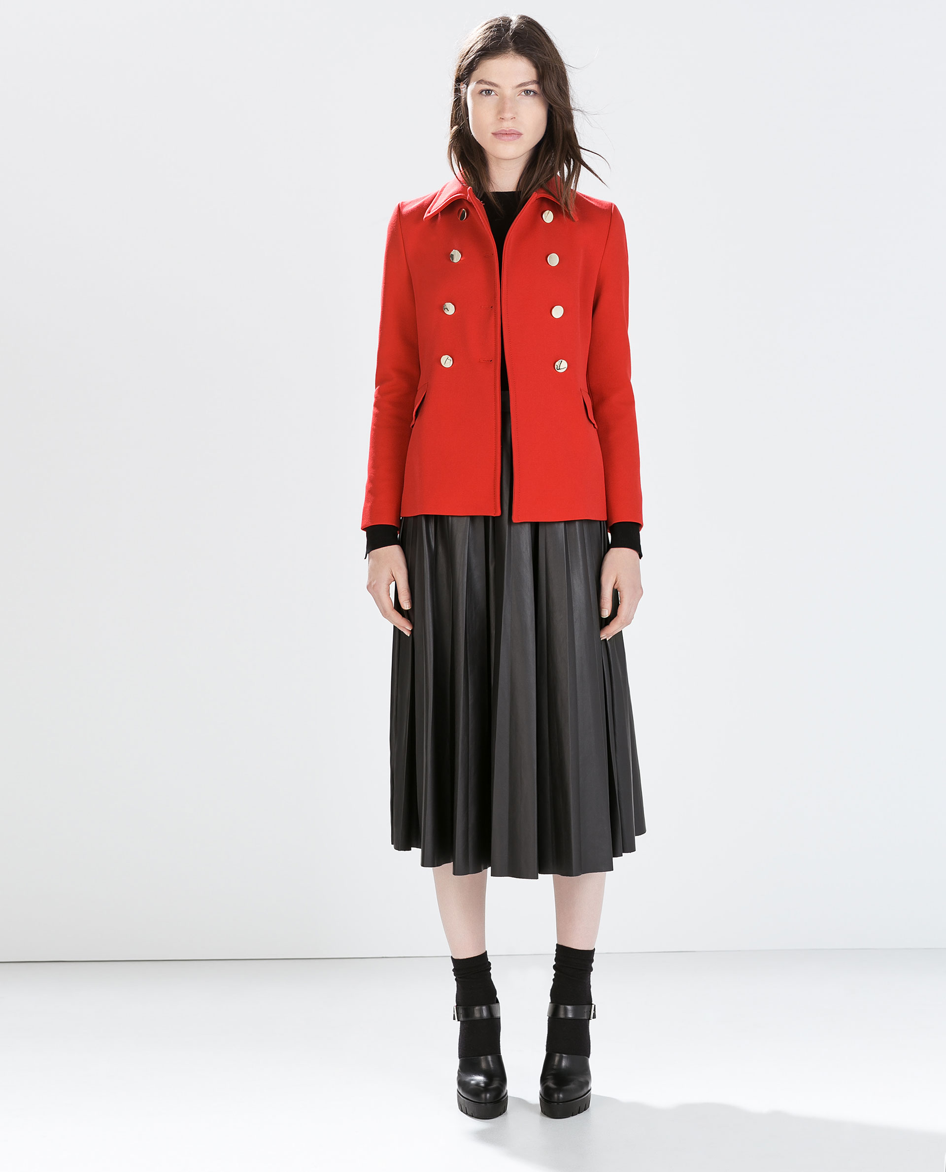 Zara Double-Breasted Short Coat in Red | Lyst