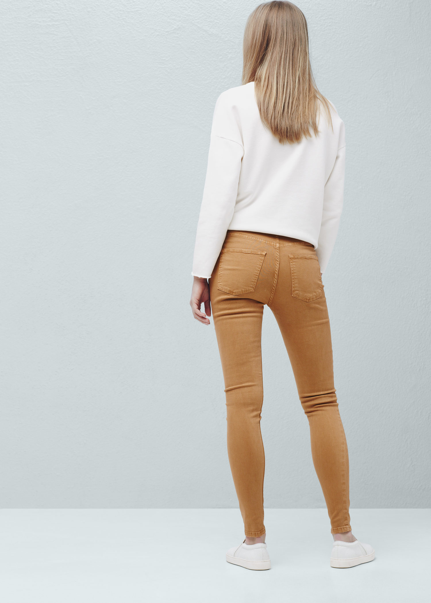 Mango High Waist Skinny Jeans in Brown | Lyst
