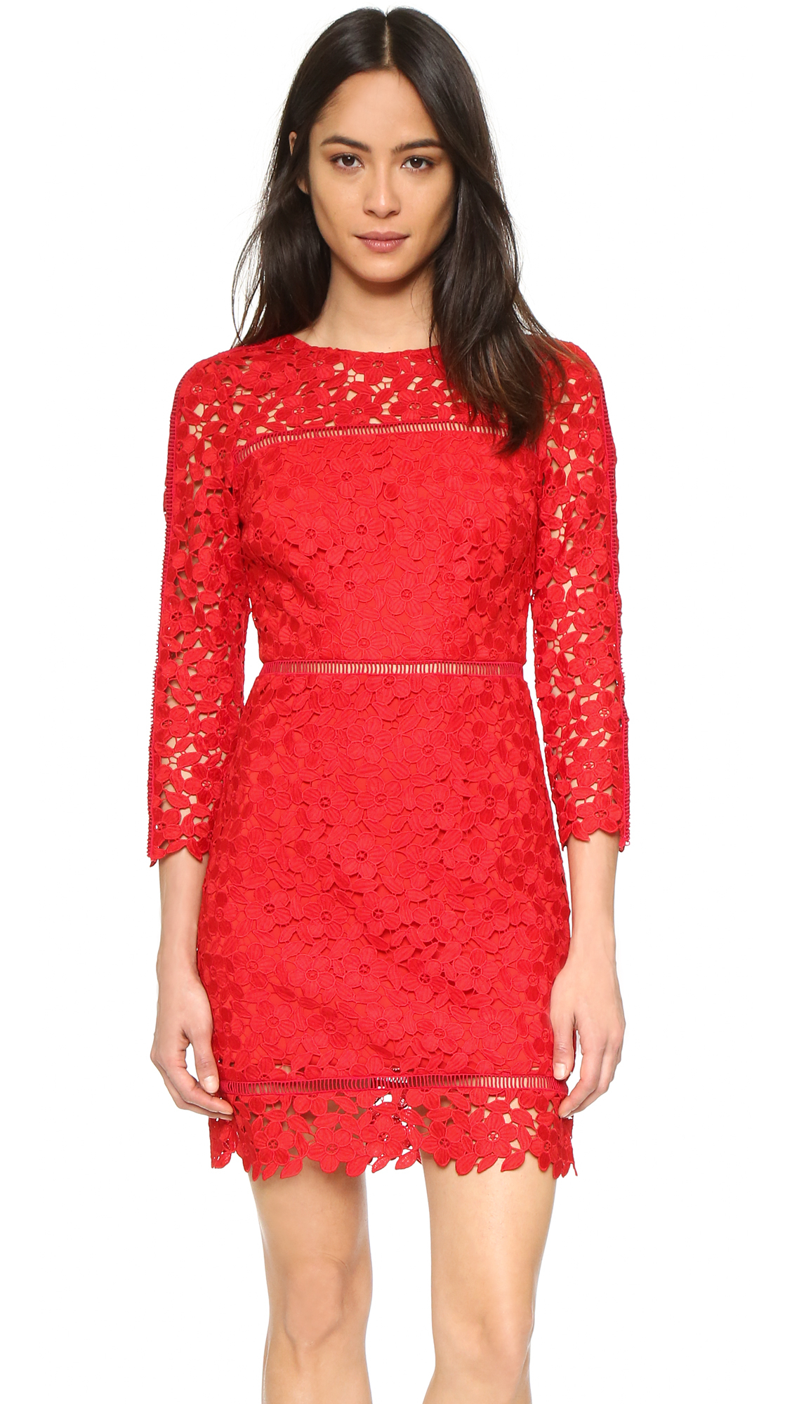 Cynthia rowley Long Sleeve Lace Dress in Red | Lyst