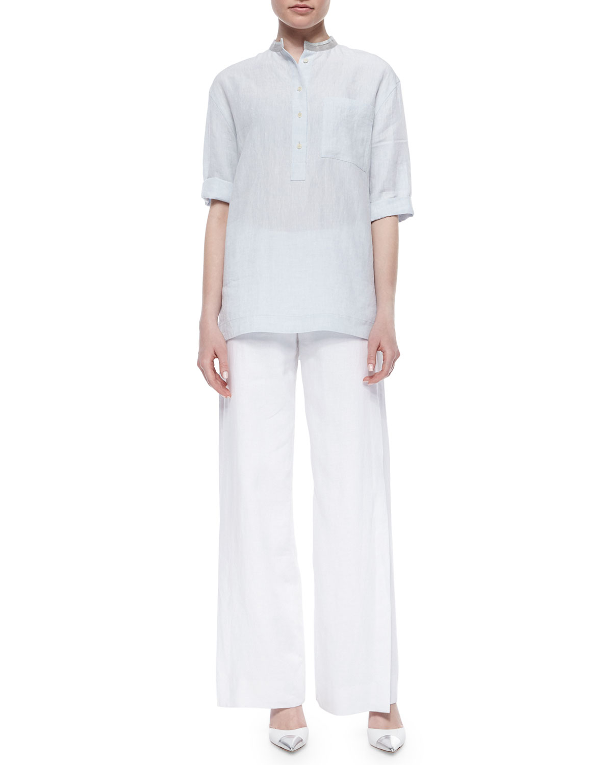 Lafayette 148 new york Lined Wide-leg Linen Pants in White | Lyst