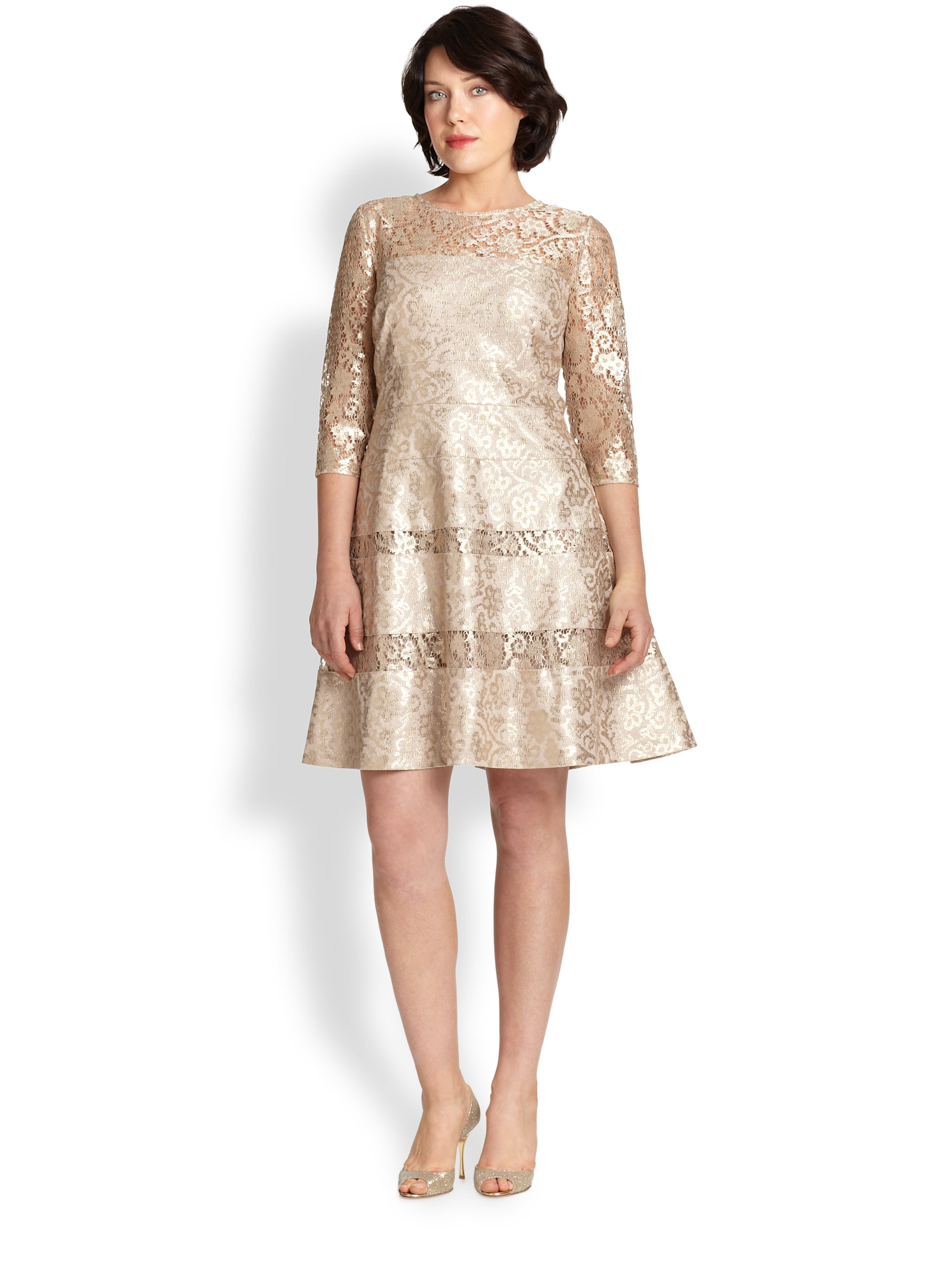 Lyst - Kay Unger Lace Fit-And-Flare Dress in Metallic