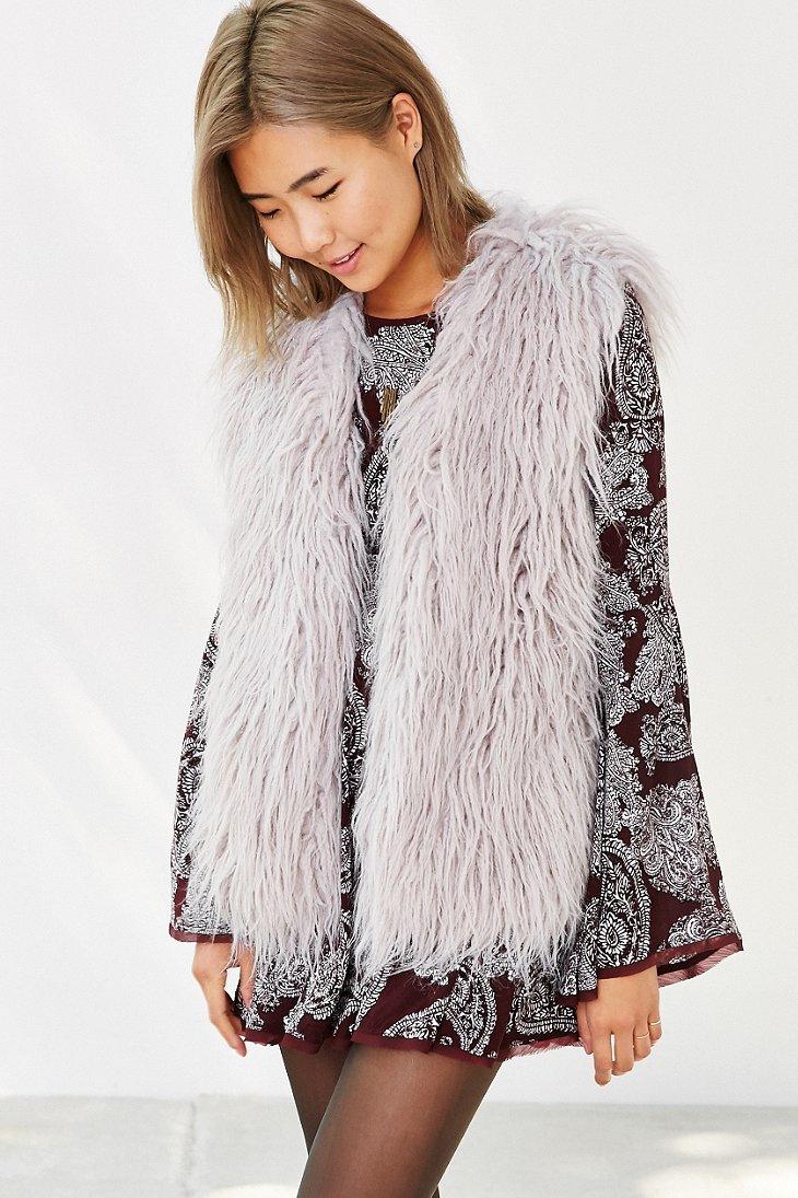 Lyst Minkpink Endless Shaggy Faux Fur Vest In Gray