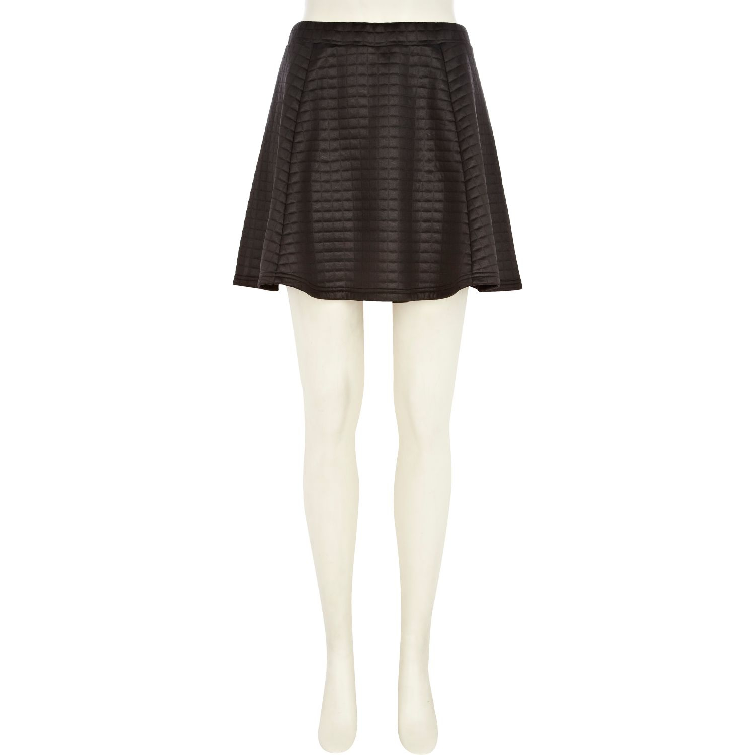 river island black high shine quilted skater skirt in