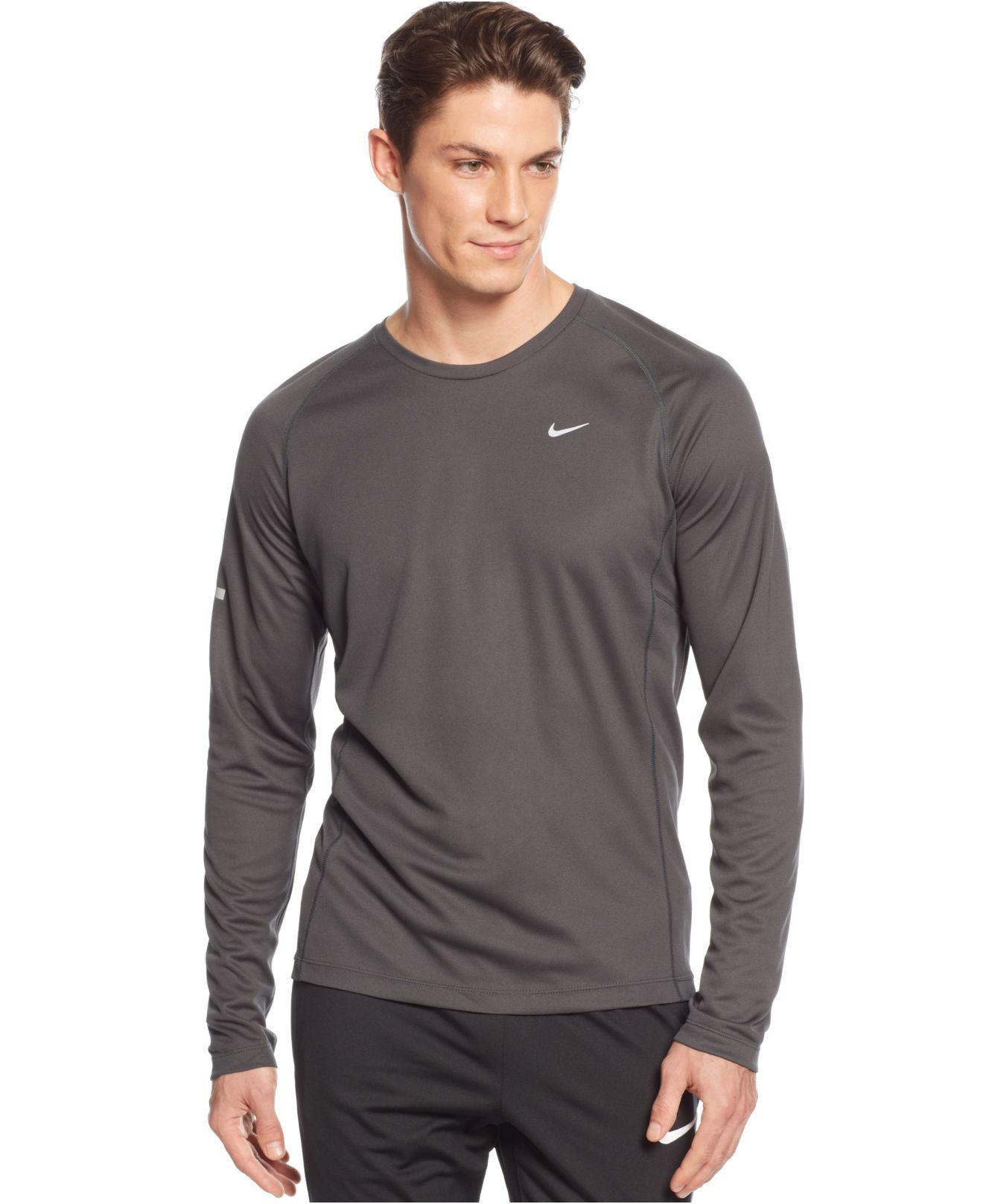 Nike Miler Long Sleeve Performance T Shirt In Gray For Men