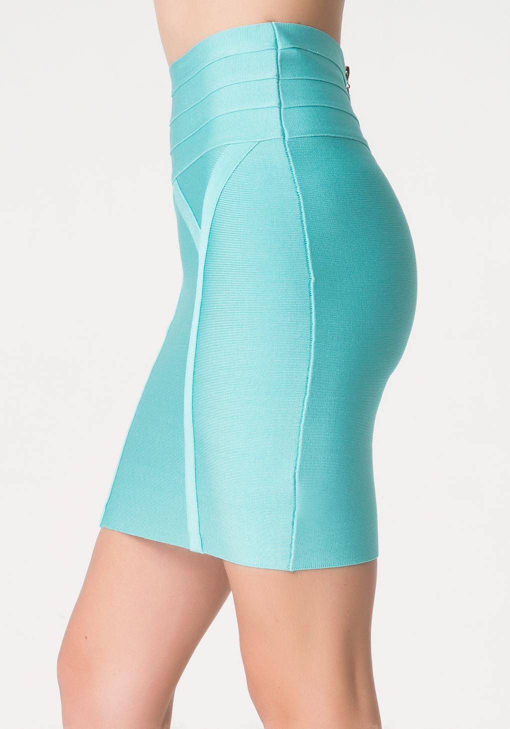 Bebe High Waist Bodycon Skirt in Blue | Lyst