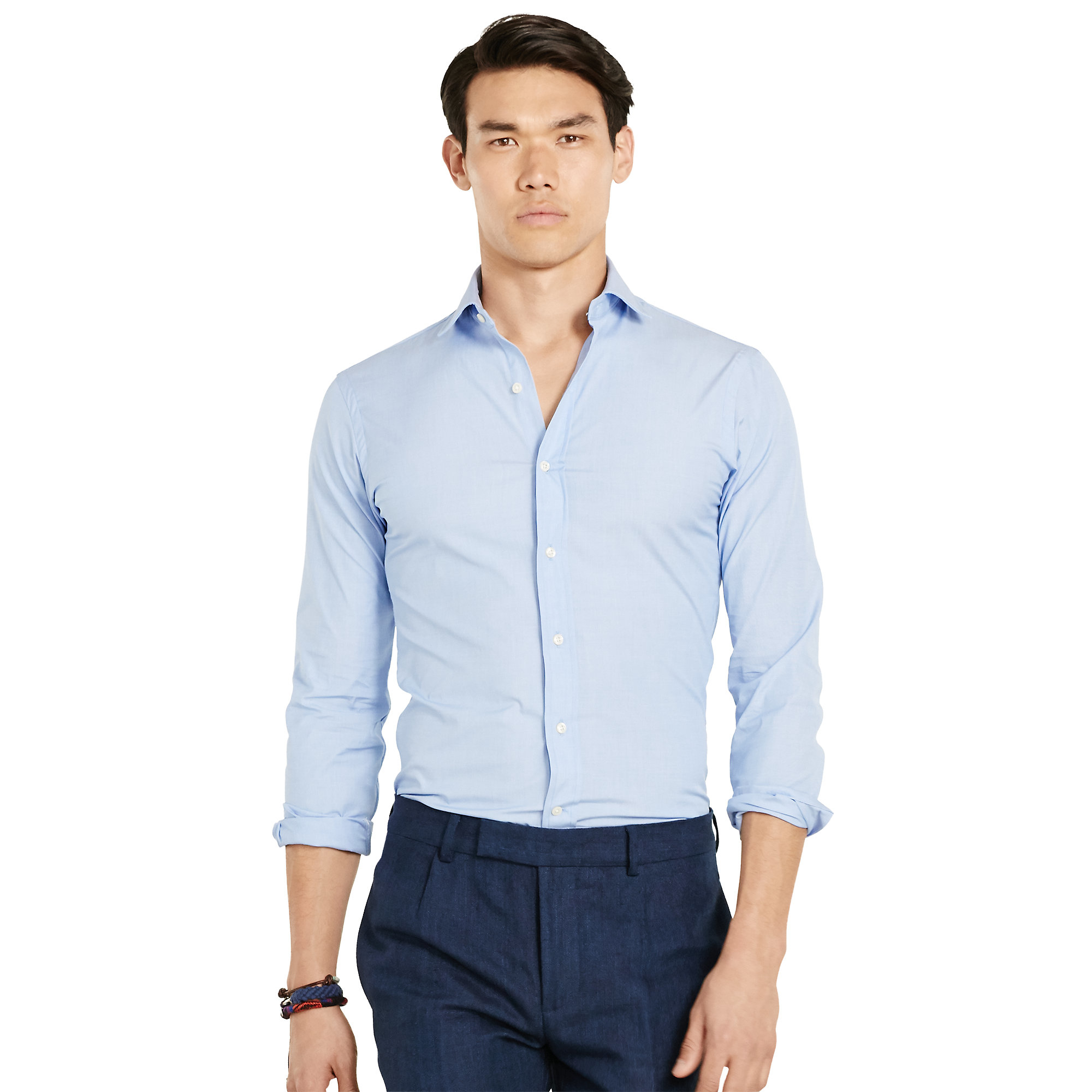 Polo ralph lauren estate slim fit stretch shirt in blue for Stretch polo shirt mens