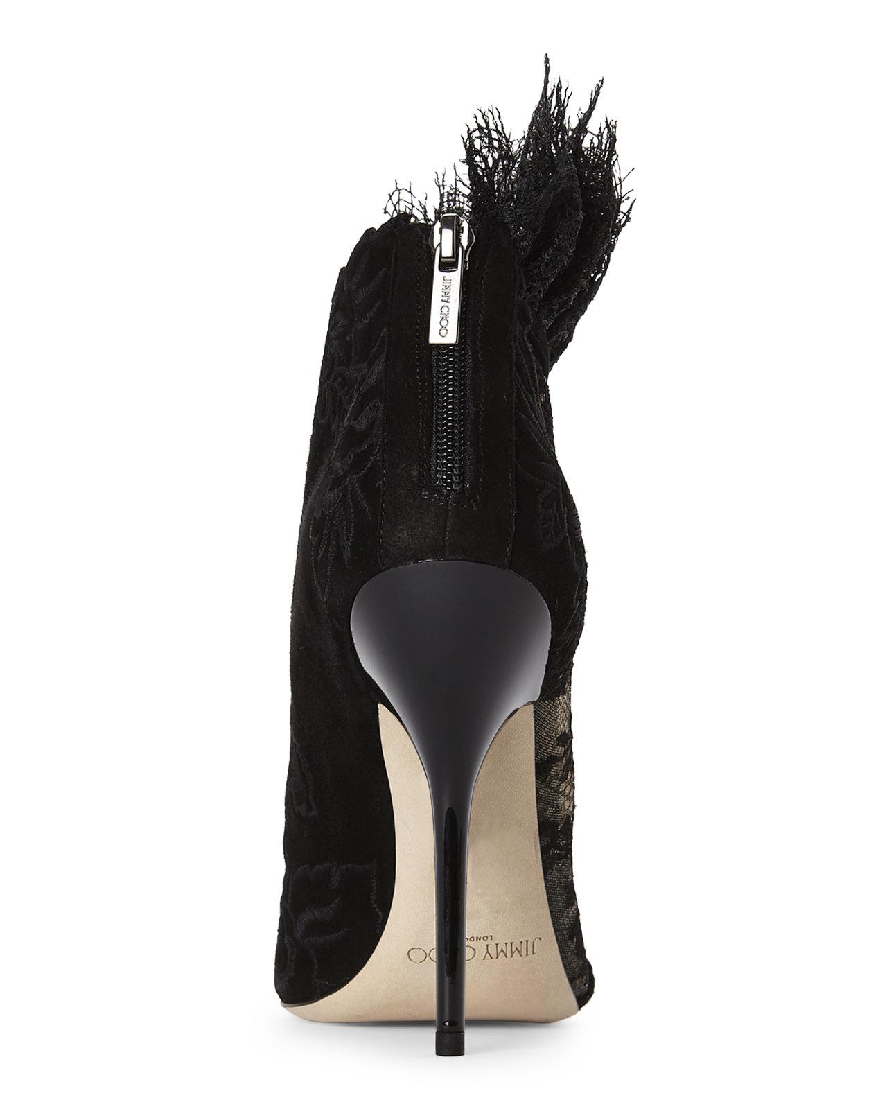 f75a9f300e23 Lyst - Jimmy Choo Black Kamaris Lace Booties in Black