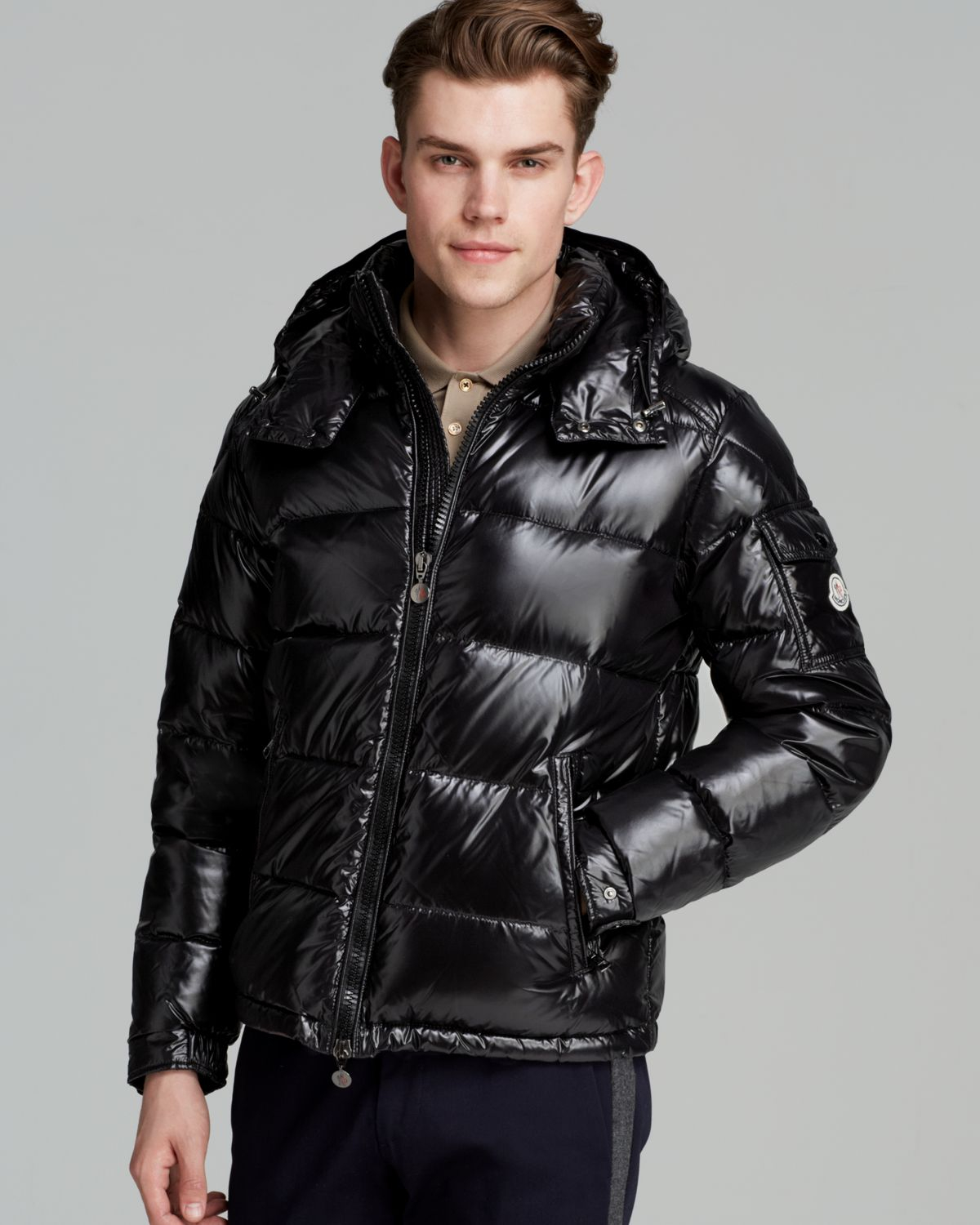 moncler maya glossy hooded down jacket in black for men lyst. Black Bedroom Furniture Sets. Home Design Ideas