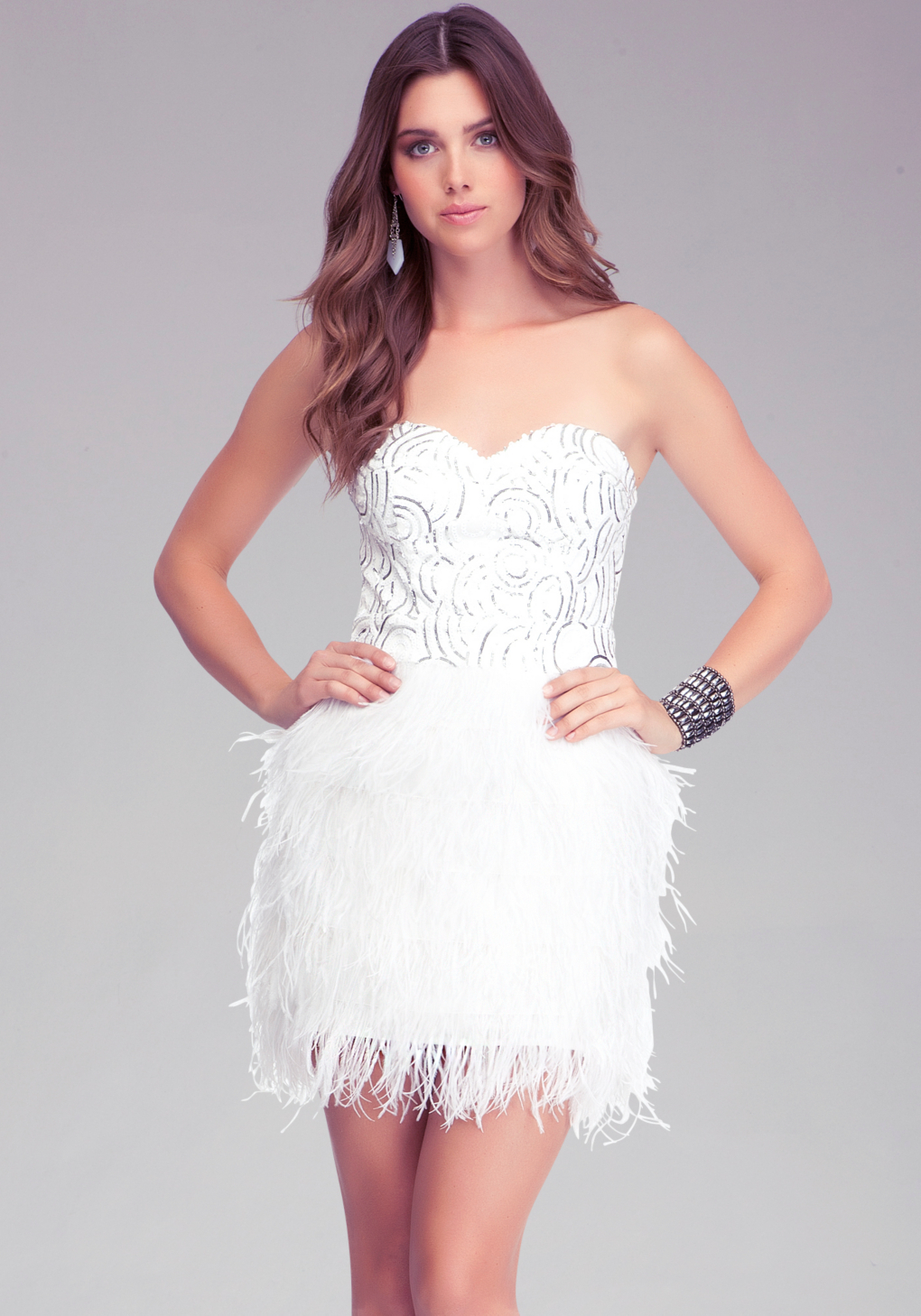 7caf1346bb Bebe Isis Sequin Feather Dress in White - Lyst