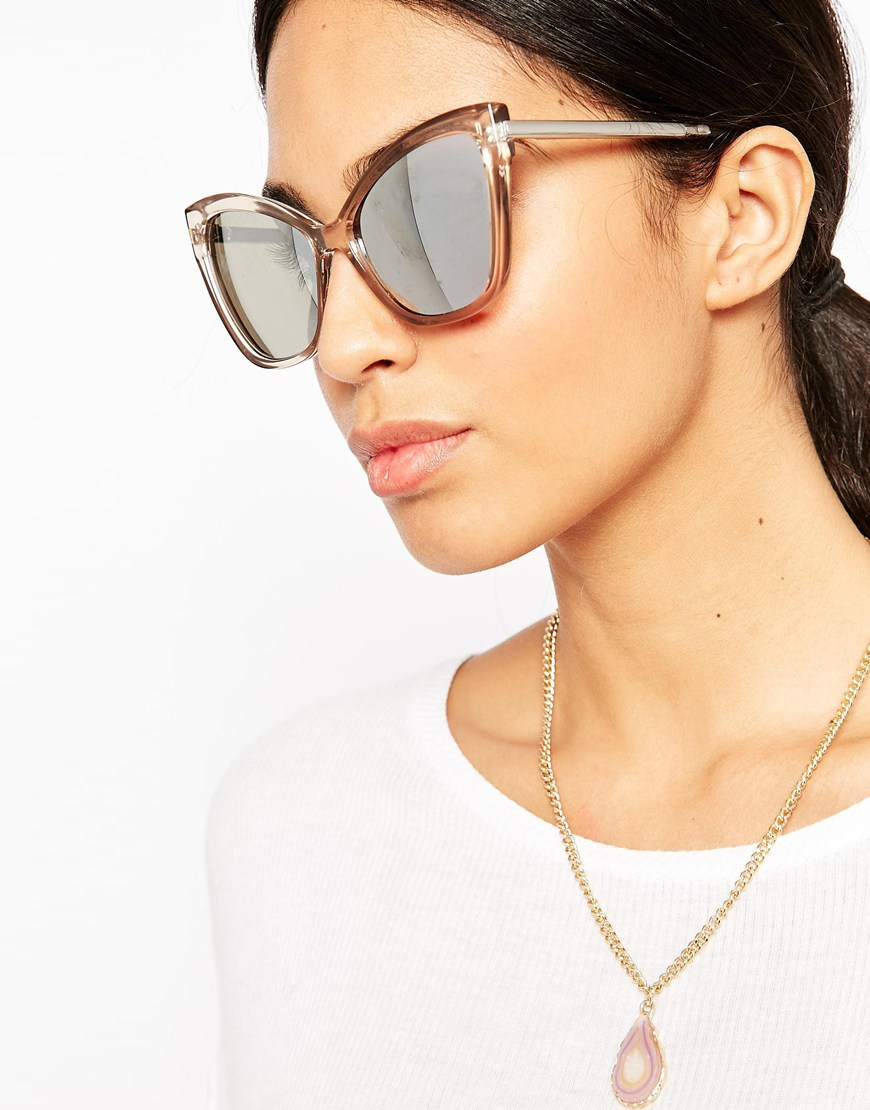fa3f8e409b Lyst - Le Specs Naked Eyes Mirror Sunglasses in Natural