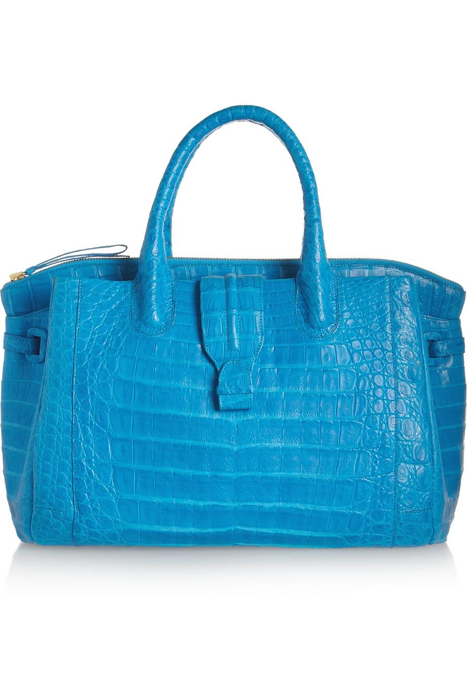 blue crocodile prada pocketbook