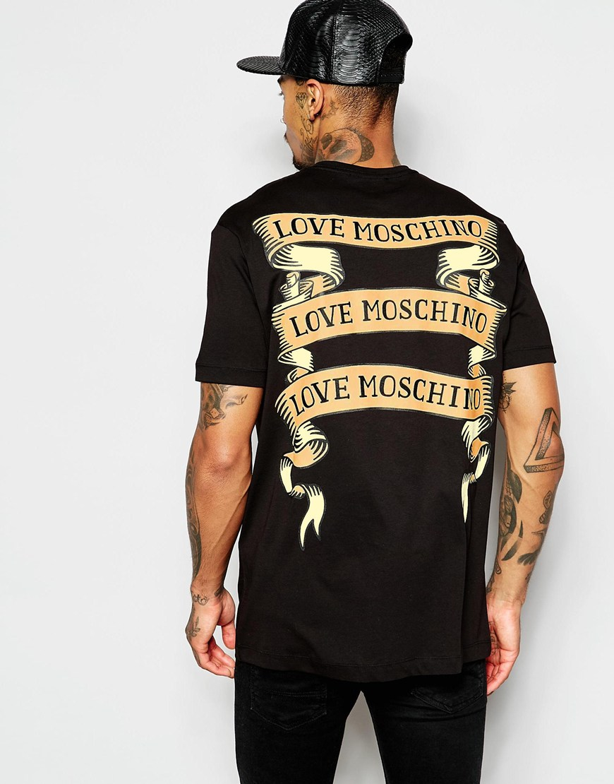 love moschino t shirt with ribbon tattoo back print in black for men lyst. Black Bedroom Furniture Sets. Home Design Ideas