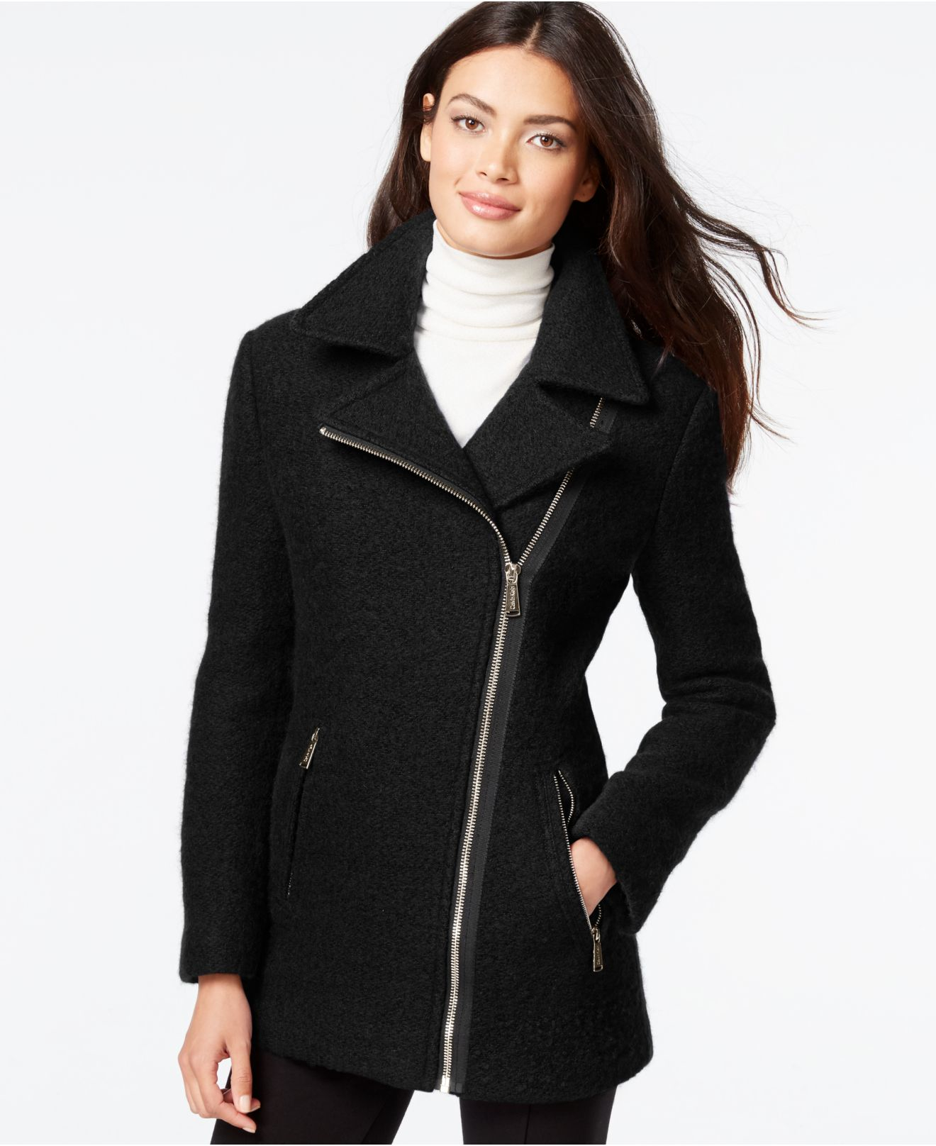 Calvin klein Asymmetrical-zip Wool Coat in Black | Lyst