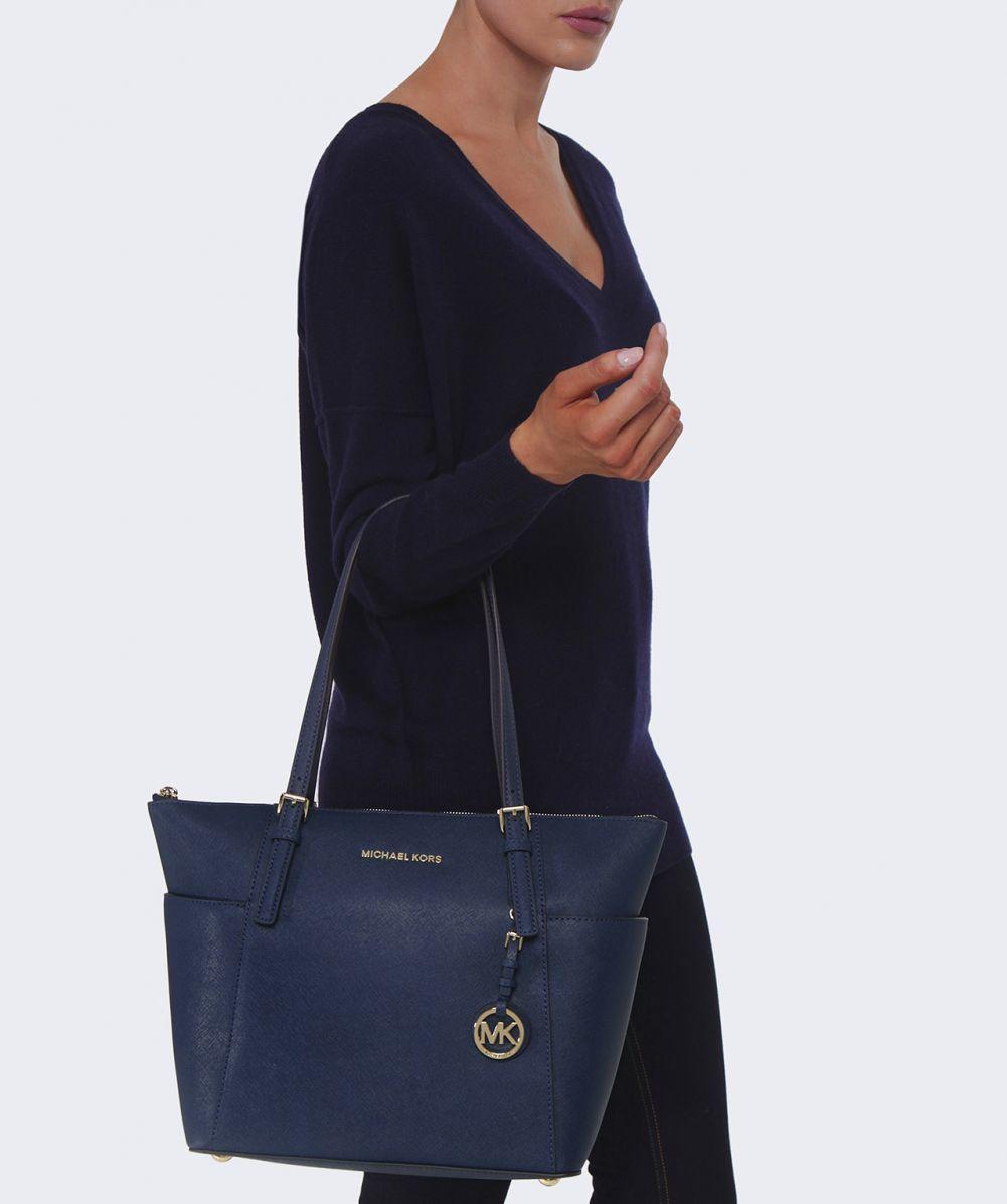 89e902539127 Lyst - MICHAEL Michael Kors Jet Set Travel Top Zip Tote Bag in Blue