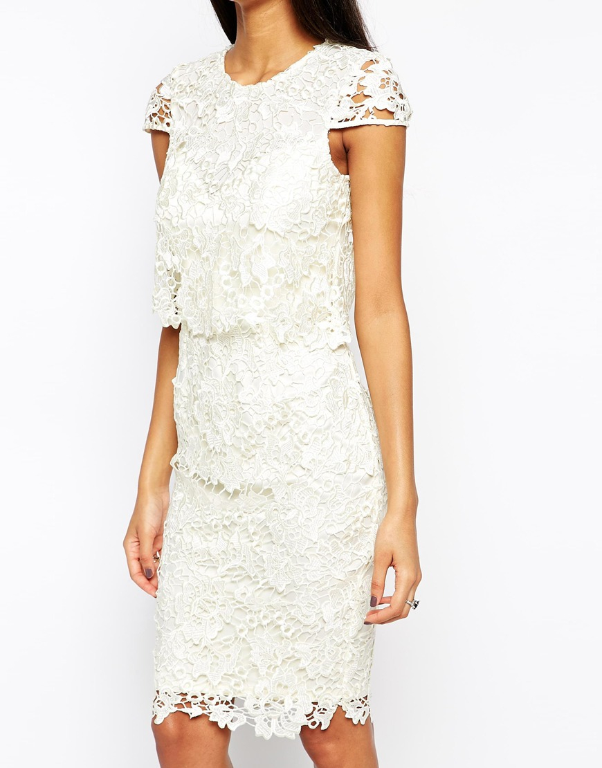 Lipsy vip waxed lace 2 in 1 pencil dress