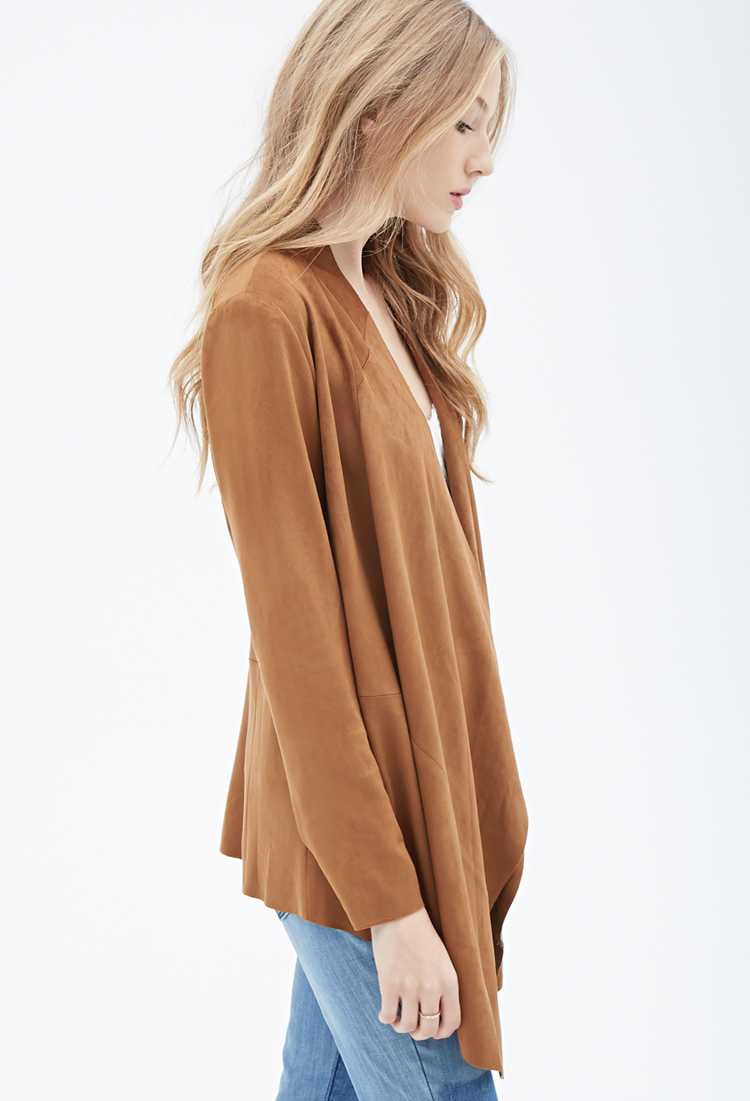 Lyst Forever 21 Collarless Faux Suede Jacket In Brown