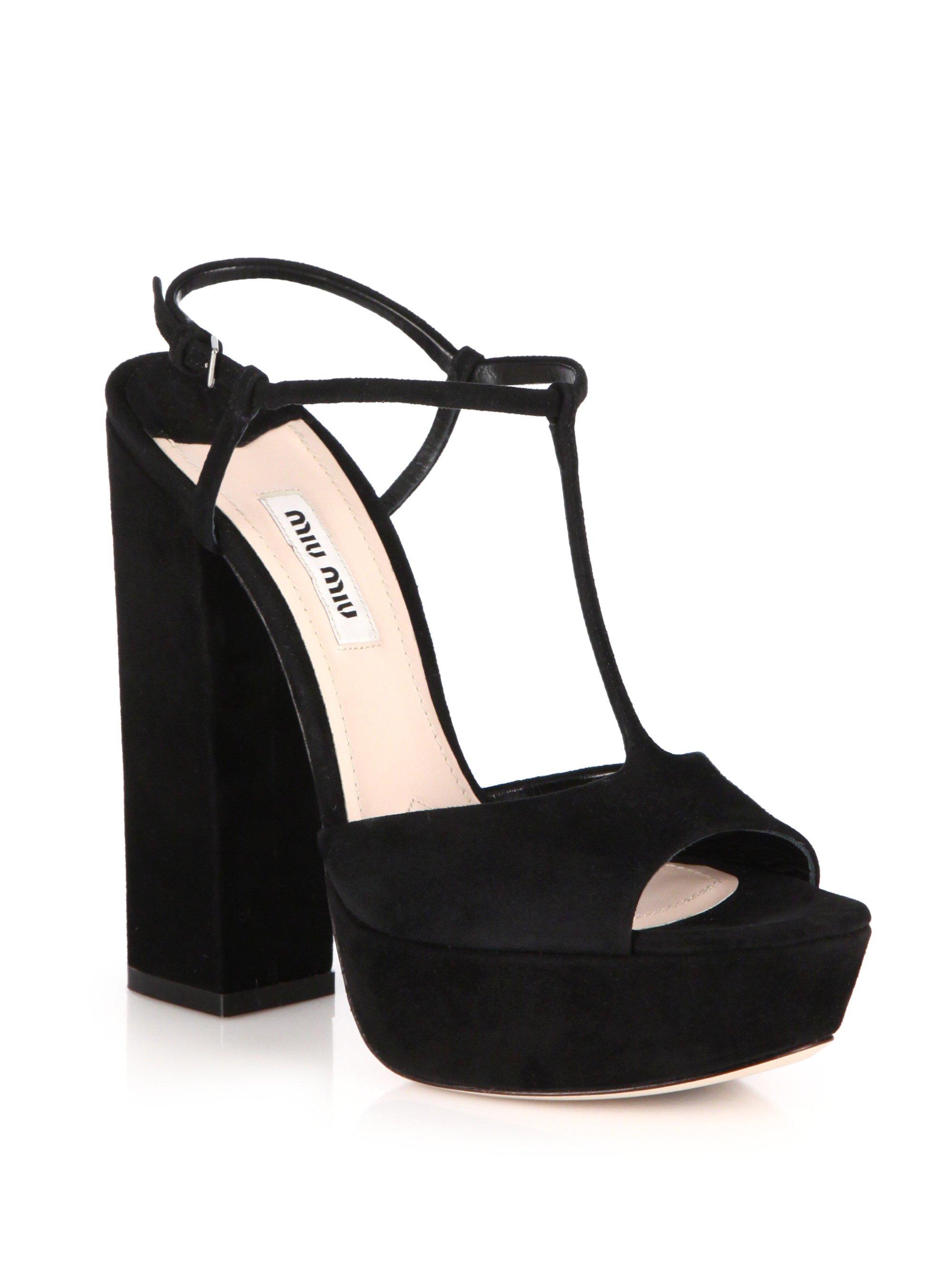 dfe20e3c843 Lyst - Miu Miu Suede Platform Sandals in Black