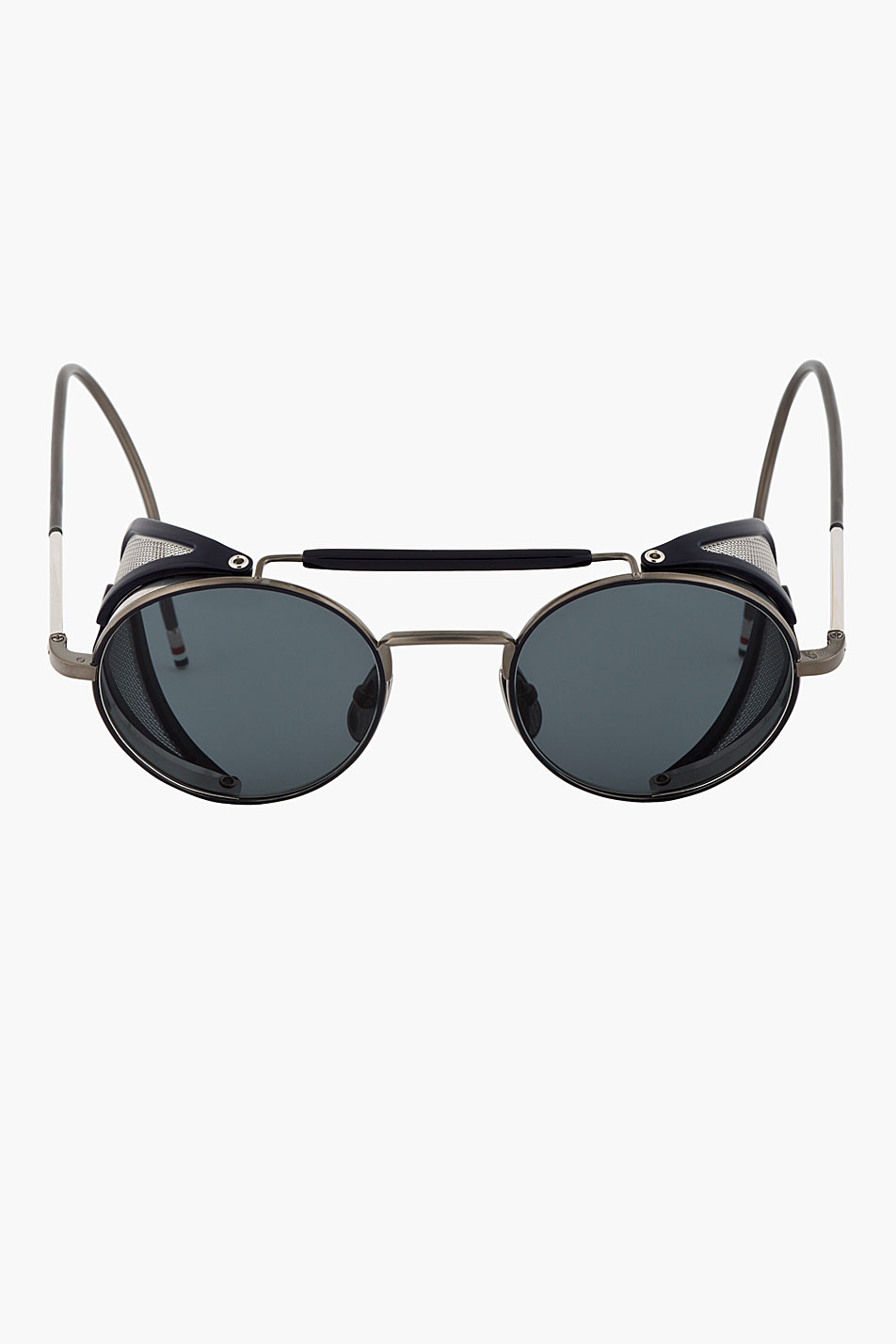 Side Shield Sunglasses  thom browne navy and grey side shield round sunglasses in blue for