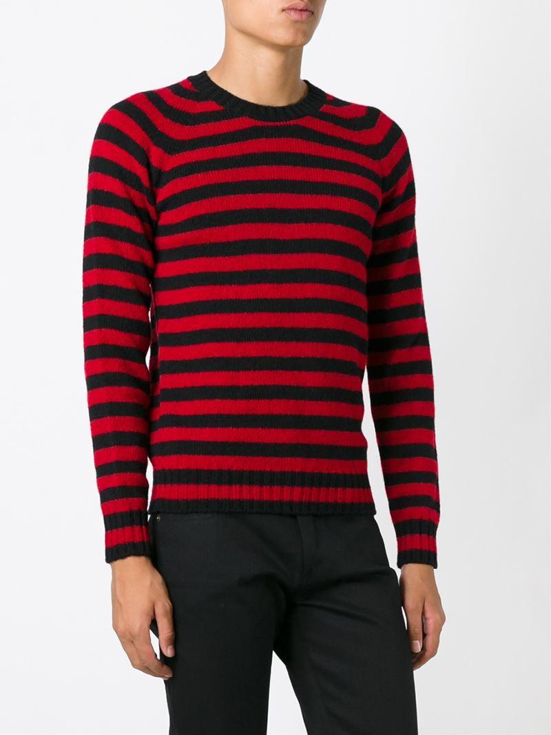 Saint laurent Striped Sweater in Black for Men | Lyst