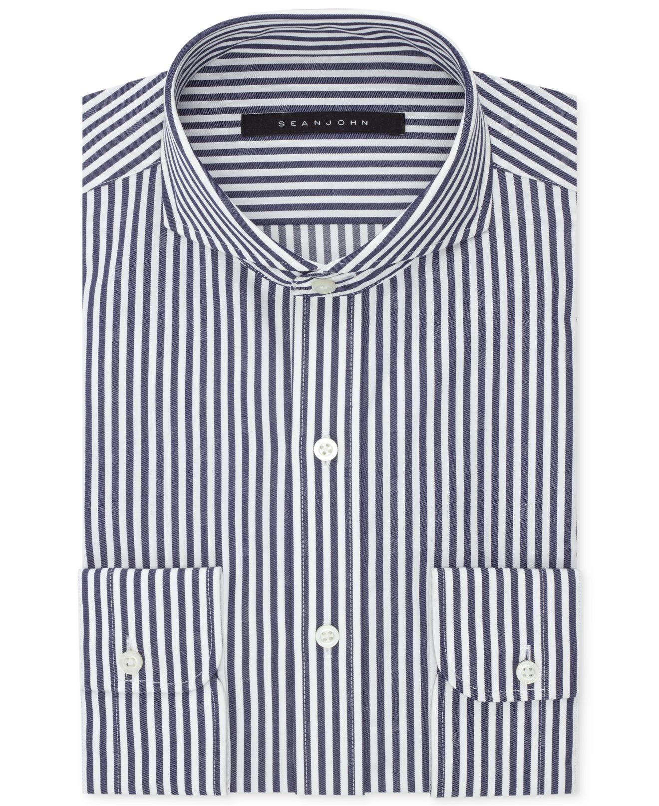 Lyst Sean John Midnight Blue Stripe Dress Shirt In Blue For Men