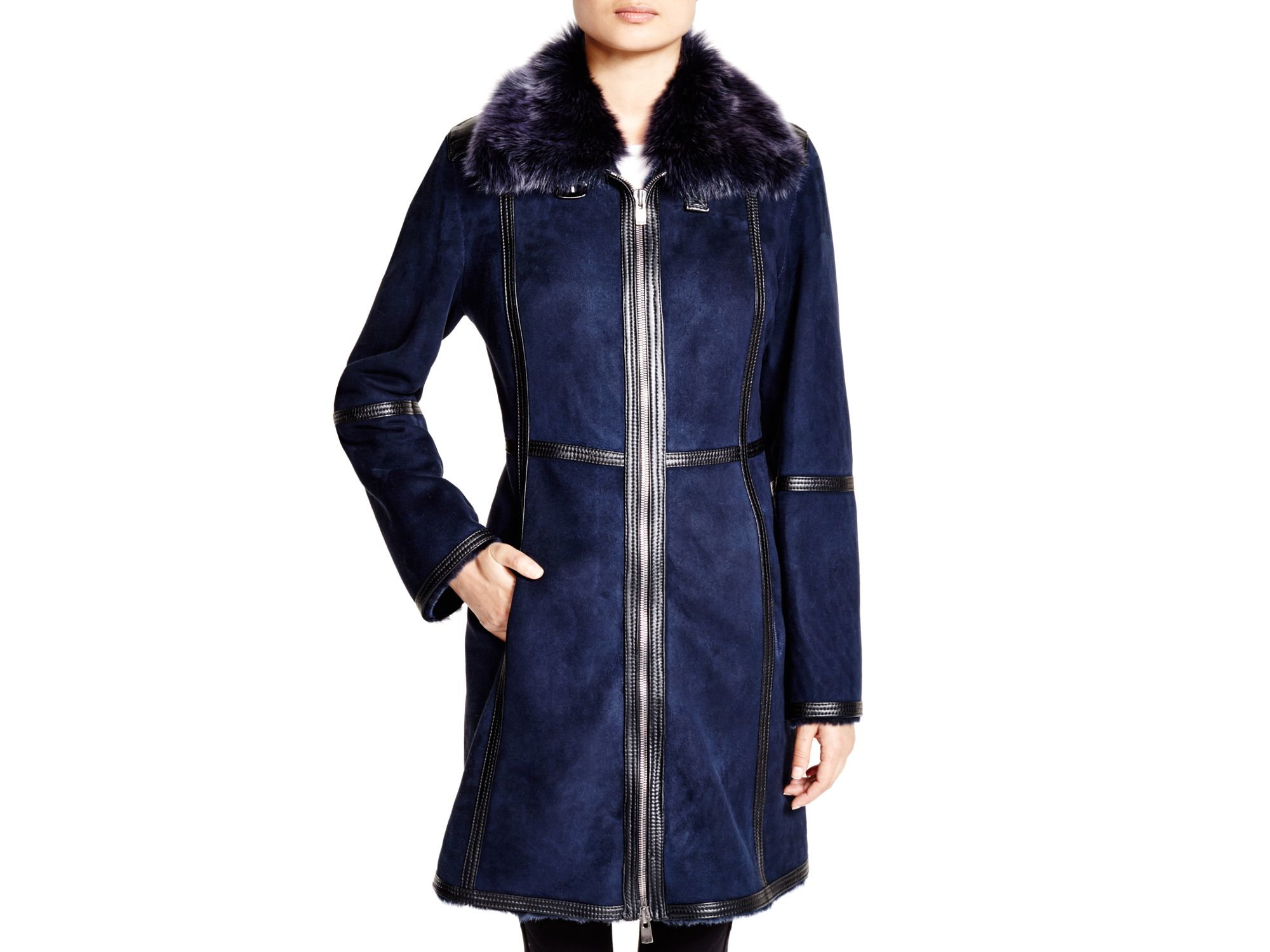Maximilian Lamb Shearling Coat With Fur Collar in Blue | Lyst