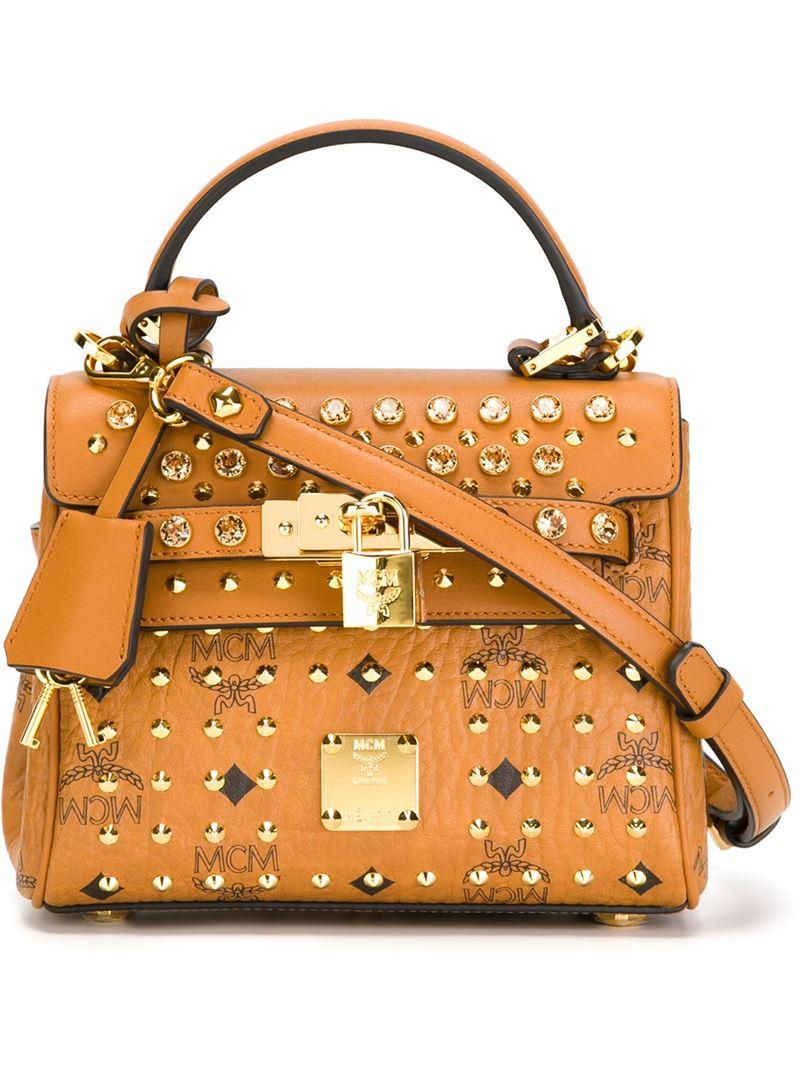 mcm diamond visetos mini canvas leather satchel in brown lyst. Black Bedroom Furniture Sets. Home Design Ideas