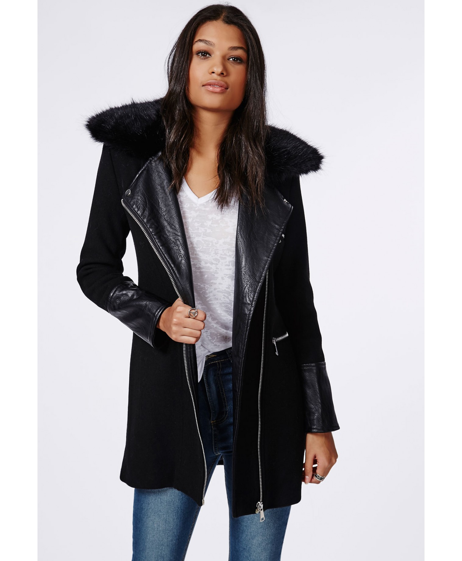 Ladies longline leather biker jacket – Jackets photo blog