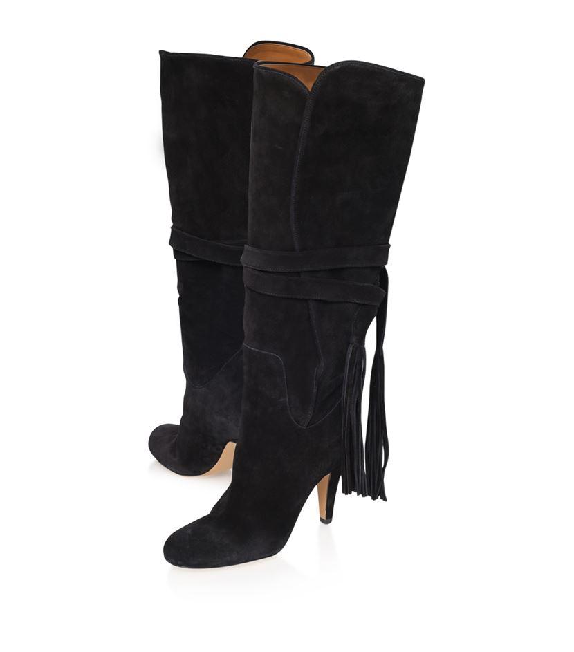 chlo 233 canosio suede tassel boot in black lyst