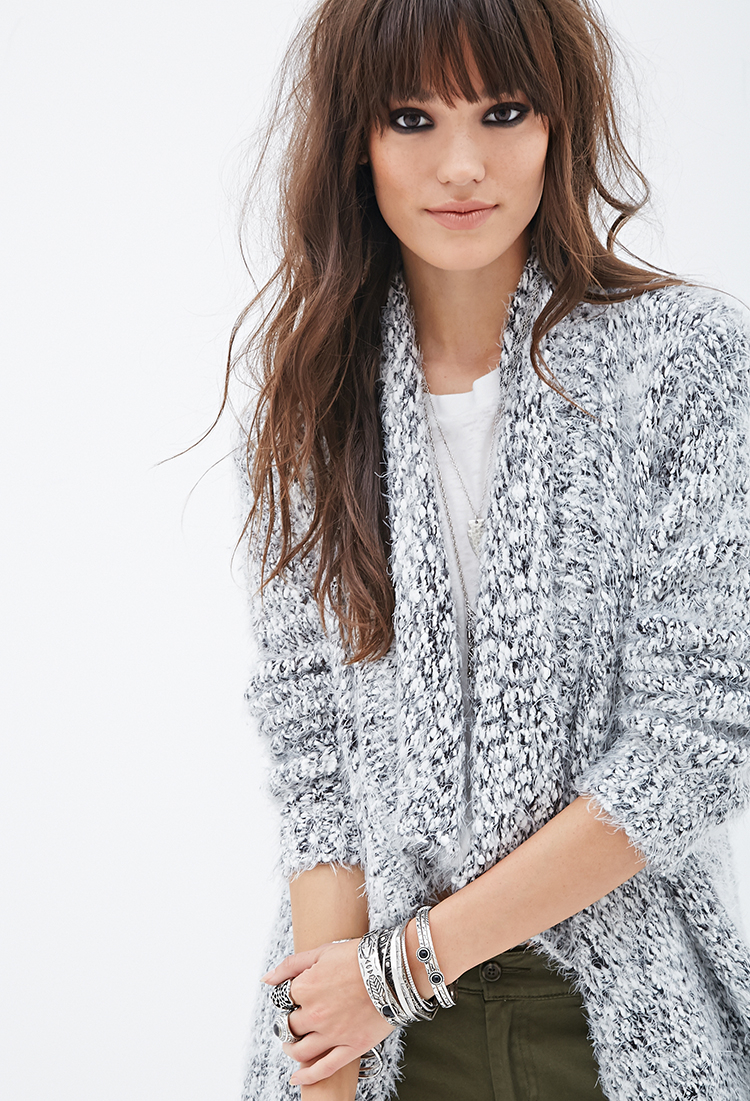 Lyst - Forever 21 Oversized Fuzzy Knit Cardigan in Gray 042f96296