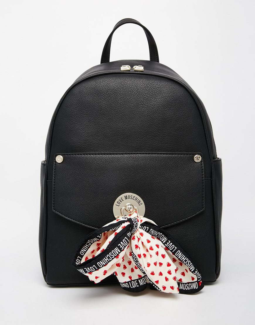 love moschino backpack with detachable scarf in black lyst. Black Bedroom Furniture Sets. Home Design Ideas