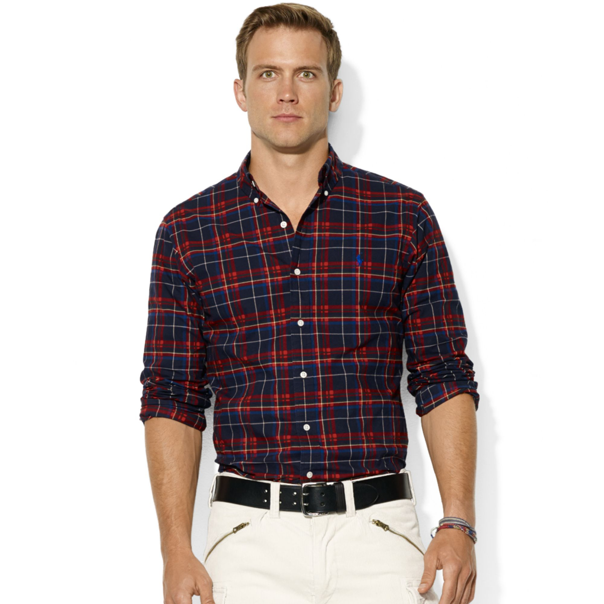 Ralph Lauren Long Sleeve Classic Fit Plaid Brushed Oxford