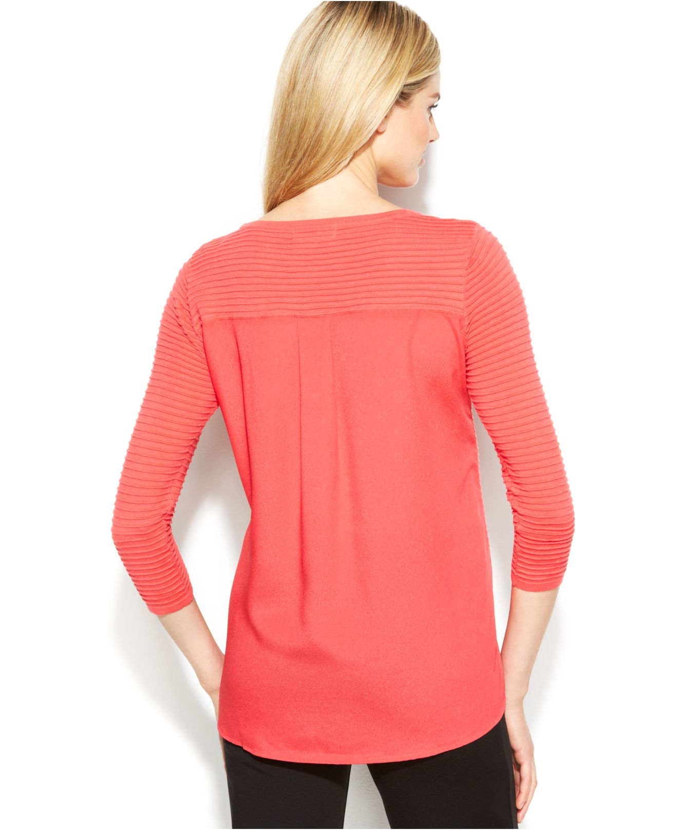 lyst calvin klein woven back ribbed knit sweater in red. Black Bedroom Furniture Sets. Home Design Ideas