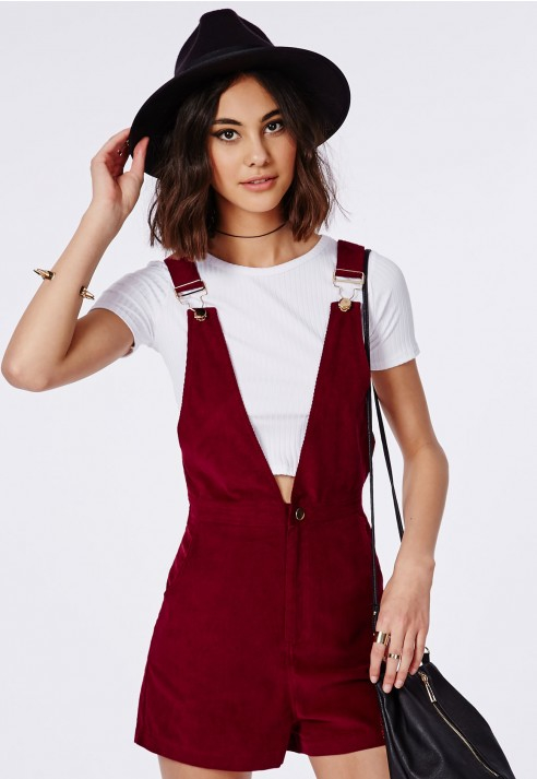 9d6735d29bc Lyst - Missguided Corduroy Overall Romper Burgundy in Purple