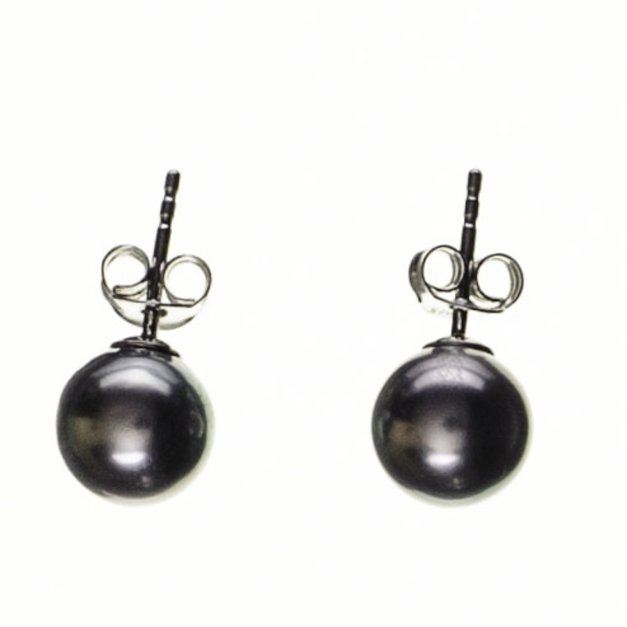 black co uk titania tahitian black pearl ear studs in