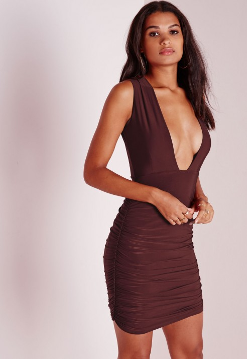 Lyst Missguided Slinky Plunge Ruched Bodycon Dress Chocolate Brown