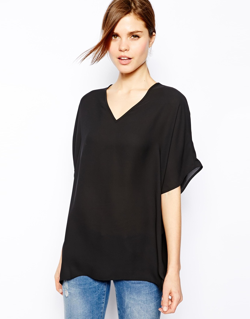 Lyst Asos Oversized Kimono Tunic With V Neck In Black