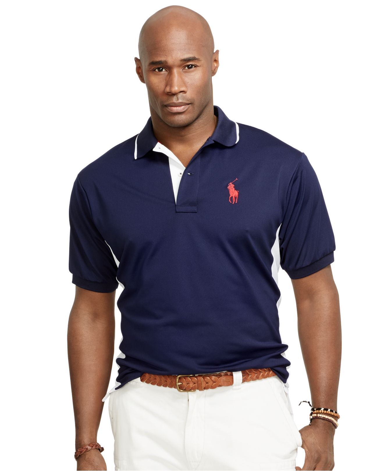57a8b4fd6 Polo Ralph Lauren Big And Tall Color-Blocked Performance Mesh Polo ...