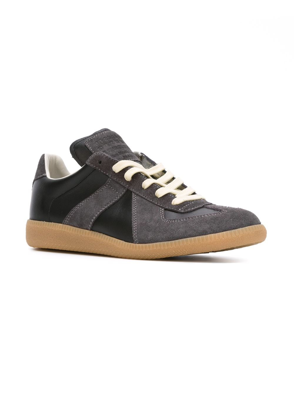 maison margiela geometric paneled sneakers in gray black lyst. Black Bedroom Furniture Sets. Home Design Ideas