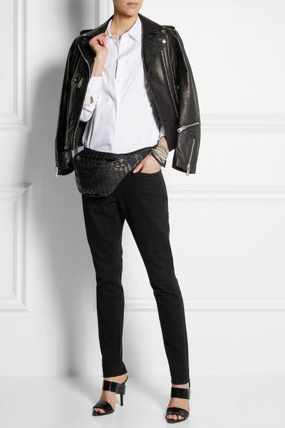 Karl Lagerfeld Printed Canvas Belt Bag In Black Lyst