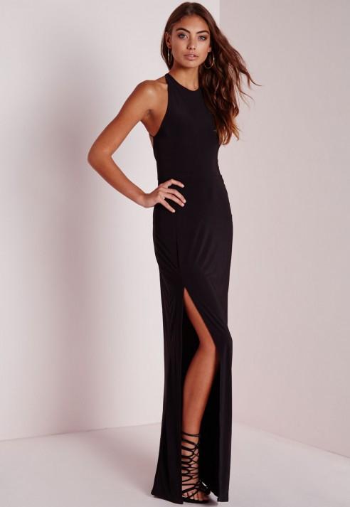 Missguided Petite Slinky Side Split Maxi Dress Black In Black Lyst