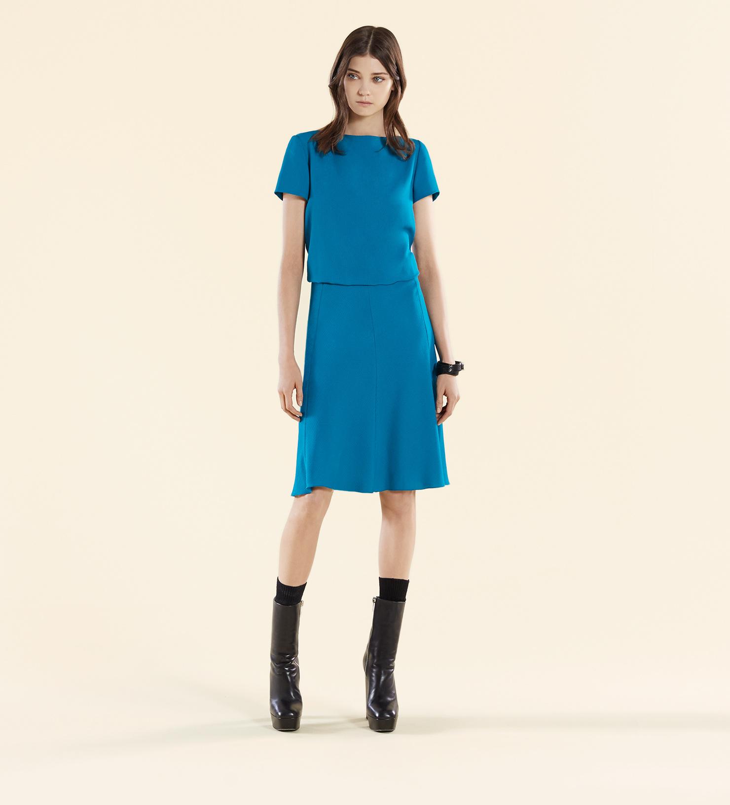 Gucci Blue Silk Dress in Blue | Lyst